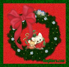 christmas kitten mouse wreath graphic
