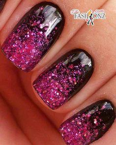 Pink glitter nail polish, nail designs, nail arts, glitter nails, black nails, gradient nails, new years, sparkly nails, nails inc