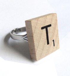 how freakin adorable! scrabble ring