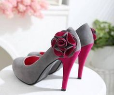 Fuchsia Pink and Grey High Heels with a Ruffled Flower
