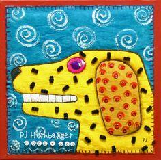 dog fabric, pj hornberg, art quilt, fabric painting, dachshund clube, fabric art, fiber art, anim art, folk artist