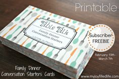 Printable Family Dinner Conversation Starters Cards - Subscriber FREEBIE through 3/7
