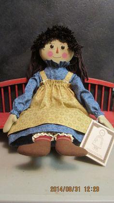 """15""""Primitive folk art cloth doll- Gail Wilson Designs Raggedy Ann Doll Series"""