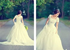 Beautiful fitted bodice wedding ball gown.
