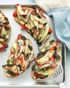 Portobello, Broccoli, and Red-Pepper Melts Recipe.