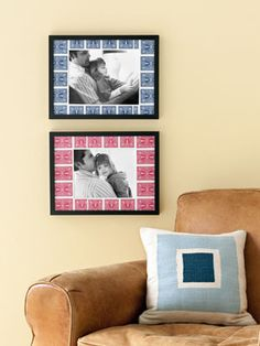 This is a permanent photo display (playing cards used as a mat), but if you replace this with pictures of friends having a night out and other lively scenes, it can be a great way to decorate for a casino night or game night