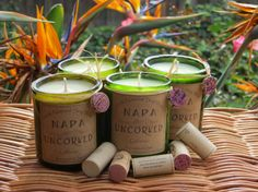 Candles made out of recycled wine bottles by Napauncorked on Etsy, $10.00