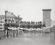"The Roofettes:  Washington, D.C., July 1923. ""Sunshine Girls."" Also known as the Tiller Girls, a dance troupe originated by the British musical-theater impresario John Tiller. National Photo Company Collection glass negative. Click to view full size."