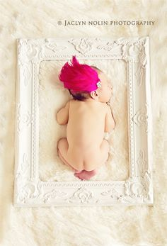 Newborn Photography great idea minus the pink thing coming from the babies head.