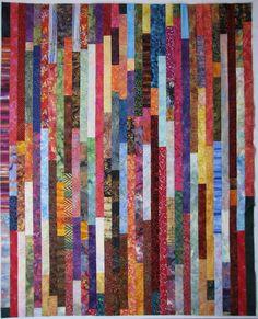 """Wanda's batik """"jelly roll race"""" quilt"""