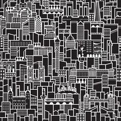 City pattern citi illustr, graphic design, artygraphici stuff, london, illustrations, citi pattern, city illustration, black, print