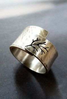 Rustic autumn tree ring Sterling silver