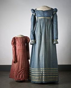 1815  Mother and Daughter Gowns. Empire Style gowns, both with simple lines and long sleeves, Norway. www.digitaltmuseum.no