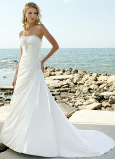Strapless A-line White Pleated Sweep Satin Wedding Gown (WH0040)