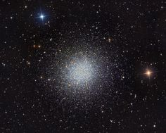 """M13: The Great Globular Cluster in Hercules (June 14 2012)  Image Credit & Copyright: Martin Pugh In 1716, English astronomer Edmond Halley noted, """"This is but a little Patch, but it shews itself to the naked Eye, when the Sky is serene and the Moon absent."""" Of course, M13 is now modestly recognized as the Great Globular Cluster in Hercules, one of the brightest globular star clusters in the northern sky. Telescopic views reveal the spectacular cluster's hundreds of thousands of stars #astronomy"""