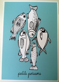 Fish Art Sea Fishes French Poster, Coastal Beach Decor