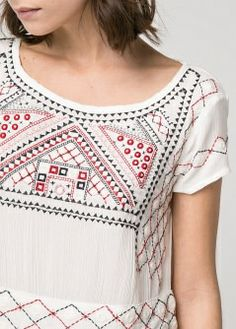 MANGO GEOMETRIC EMBROIDERY DRESS DRESS