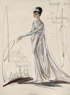 "Edith Head costume sketch of Shirley MacLaine for ""What a Way to Go"", 1964"