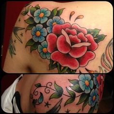 Traditional rose and flowers by Bill Smiles at Dovetail Tattoo