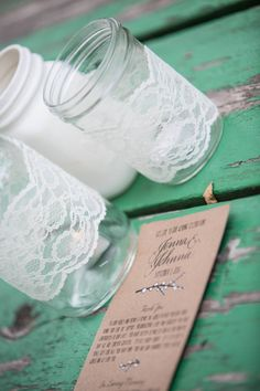 More examples of lace on and painted jars.