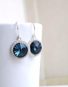 Sapphire Jewelry Wedding Jewelry Bridal Earrings Swarovski Crystal
