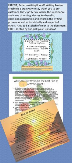 Freebie for you - the proven value of writing in the classroom, with a message that inspires students to try and take that risk! Stop by to download for free and add to your room or border space today!