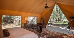 Now THIS is how I want to camp!! Moonlight Camp glamping tent bedroom - The Resort at Paws Up