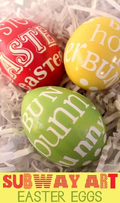 Subway Art Easter Eggs. Just eggs, vinyl letters and acrylic paint. Easy!
