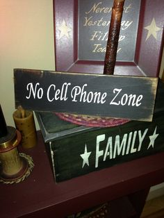 No Cell Phone Zone Wooden Stenciled Sign by StoneValleySigns, $11.99