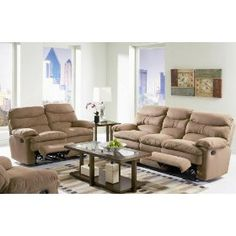 2pc Recliner Sofa Set with Overstuffed Seat in Brown Microfiber Fabric