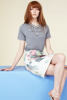 pencil skirt + embellished tee