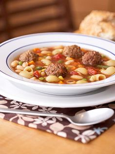 Meatball and Vegetable Soup with Pasta