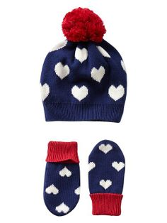 Gap Intarsia Heart Hat & Mitten Set