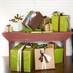 Coordinate gift wrap with your home's holiday color scheme! More wrapping inspiration: http://www.bhg.com/christmas/gift-wrapping/