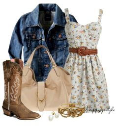 Summer Country Outfit, I love the dress with the jacket and the boots! Such a cute country outfit! ❤
