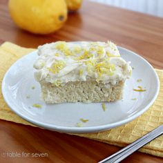 table for seven: Lemon Snack Cake with the Best Vanilla Frosting Ever