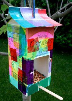 Milk Carton Bird Feeder Craft decoupage tissue paper last longer than just paint OR seal paint
