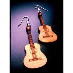 Wood Music Acoustic Guitar Earrings ($10) ❤ liked on Polyvore