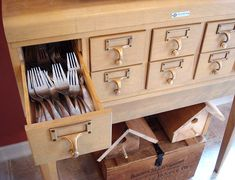Card Catalog Used To Store Flatware & Utensils Kitchen... Inspiration