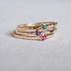 Set of three gold stack rings with stone choices :D
