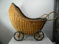 Vintage Wicker Doll Stroller, Raw Wicker Toy Stroller for Play or Display