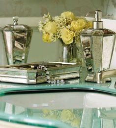 Our exclusive Antique Mirror Bath Accessories shine elegantly in a master bath or powder room.