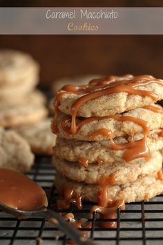 Caramel Macchiato Cookies with Salted Caramel Drizzle