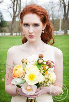 I like how crazy this is. hair colors, peach weddings, red hair, wedding bouquets, redhead, poppi, yellow bouquet, floral designs, flower