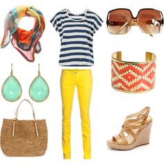 Yellow jeans and stripes