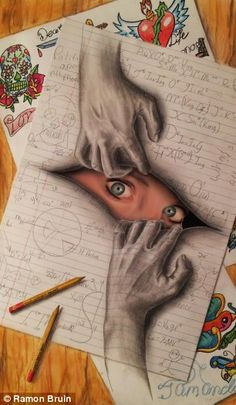 Jump out: A woman appears to be peeking through her own notes surrounded by sketches for tattoos