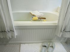 Update a standard tub with bead board surround. Love this idea!!