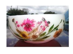 Pink Wax Bowl with Pressed Wild flowers by HighlyCollectable