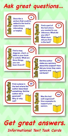 Informational Text (nonfiction) Question Cards for Any Book. Great for discussion or journal prompts. $