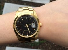 T + J Designs Gold and Black Modern Watch $58